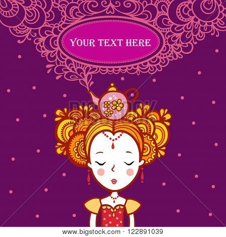 The Princess of the dreams in the clouds. Oval Frame Shape with text. teapot boils. Tea time