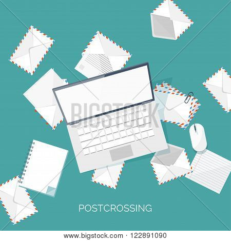 Vector illustration. Flat background with envelope. Emailing concept background. Spam, sms writing.Lettering. New message.