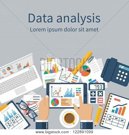 Tablet in hands businessman statistical data with charts and diagrams. Workplace documents for financial analysis statistics reporting strategy development. Vector flat design. Statistics concept.