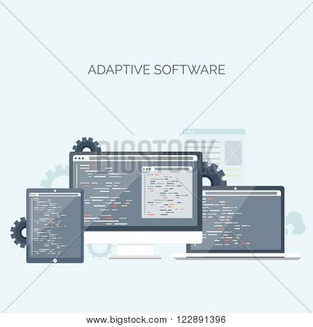 Vector illustration. Flat background. Coding, programming. SEO. Search engine optimization. App development , creation. Software, program code. Web design.