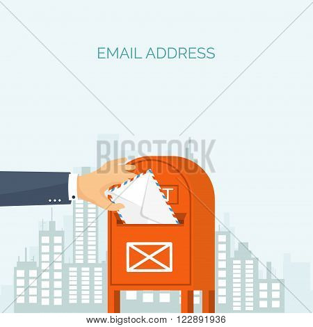 Vector illustration. Flat background with envelope. Emailing concept background. Spam , sms writing.Lettering. New message.