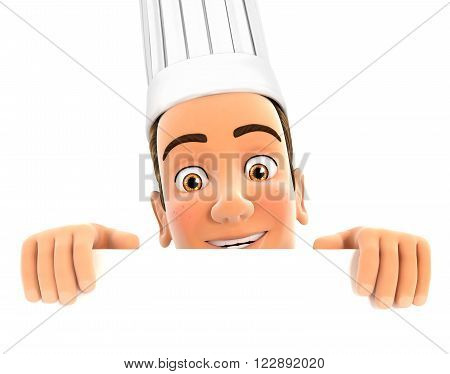3d head chef hiding behind white wall isolated white background