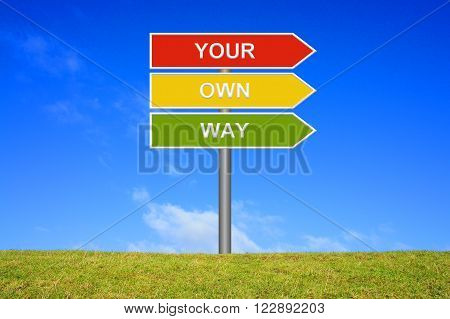 Signpost with 3 arrows shows Your own Way