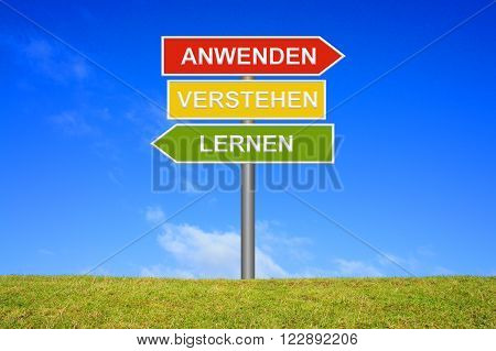 Signpost with 3 arrows shows Learn Understand Adopt in german language