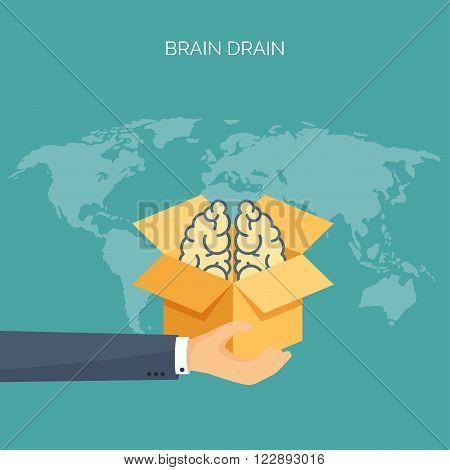 Brains, academic cap. Brain drain. Study, creative process. Power of knowledge.