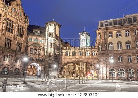 Old town of Frankfurt Main illuminated at night. Hesse Germany