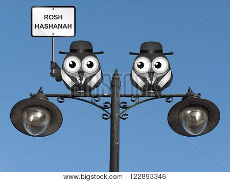 Rosh Hashanah Jewish New Year with Rabi birds perched on a lamppost against a clear blue sky