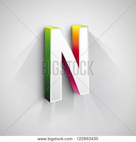 Abstract Logo Design Template. Creative 3d Concept Icon. Letter N Stylization