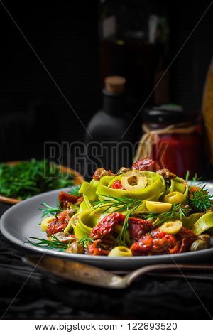 Warm Lunch Pasta Tomato Sauce Capers Asparagus Magic Light
