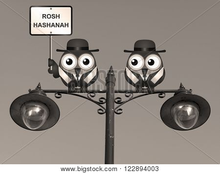 Sepia Rosh Hashanah Jewish New Year with Rabi birds perched on a lamppost