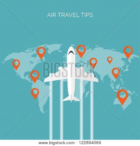 Flat travel background. Plane. Summer holidays, vacation. Traveling. Tourism, trip , journey.