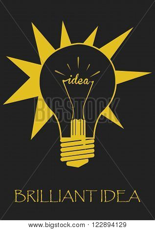 Inspiration of Brilliant Idea in Light Bulb Concept. Vector Illustration