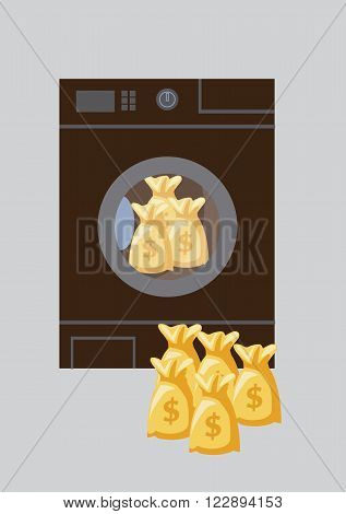 Dollar money bag in washing machine, Money Laundering concept. Vector Illustration
