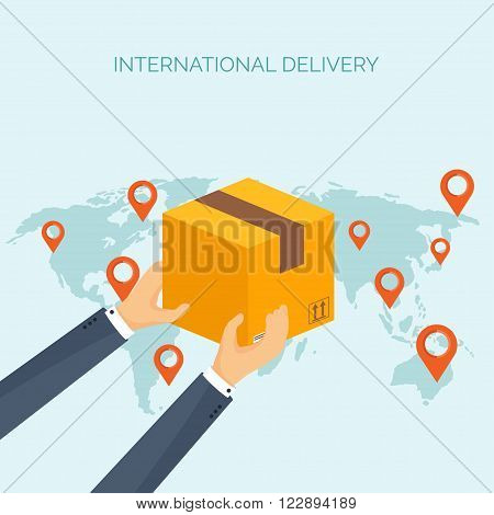 Vector illustration. Flat header. International delivery, worldwide postage. Emailing, online shopping. Envelope, package.