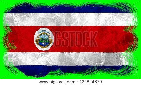 Flag of Costa Rica painted with brush on solid background, paint texture