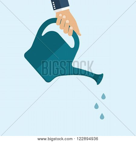 Watering Can In Hand Businessman.
