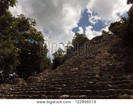 The largest staircase of the Coba Maya archeological site in Yucatan Mexico.