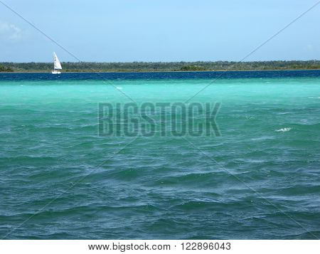 A white sailing boat sailing on the colorful Laguna Bacalar in Mexico a multi-hued clear freshwater lake with the colors of the Caribbean.