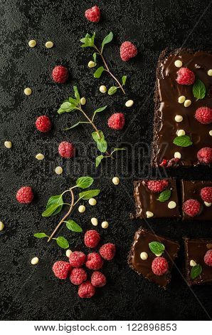 Chocolate Brownies With Mint
