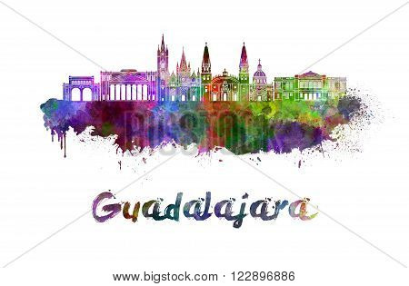 Guadalajara skyline in watercolor splatters with clipping path