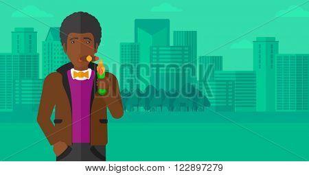 Man smoking cigar.