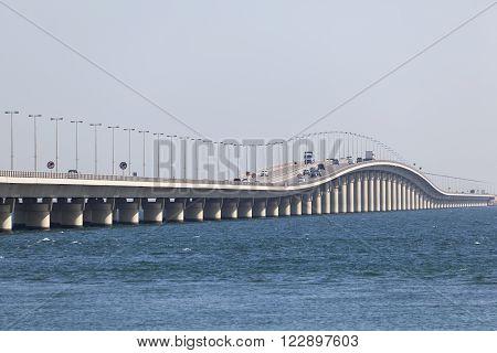 King Fahd Causeway which connects Saudi Arabia and Bahrain. Manama Kingdom of Bahrain Middle East