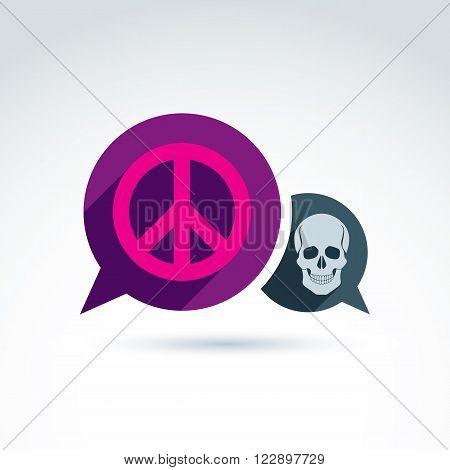 Peace against war icon with death skull vector conceptual unusual symbol for your design.