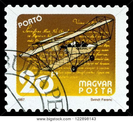 HUNGARY - CIRCA 1987: A stamp printed in Hungary shows Vintage aircraft stamp dedicated to the creation of the aircraft circa 1987.