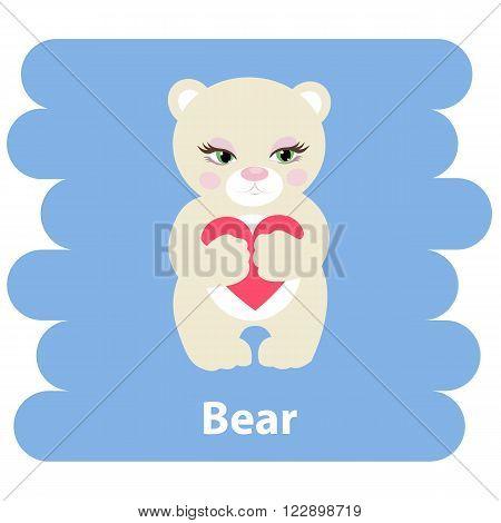 Cute cartoon bear vector illustration.Cartoon animal bear with heart isolated on background.Bear, baby bear, forest animal.Vector Bear forest animal.Cute bear vector illustration.Bear character