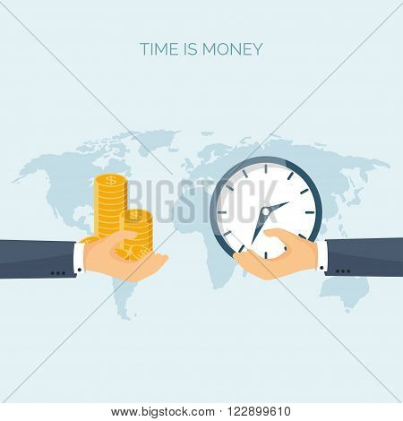Vector illustration. Flat saving money concept background. Coins. Time is money.