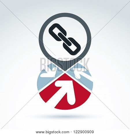 Conceptual Connection Icon Isolated On White Background. Vector Segmented Corporate Branding Sign Wi