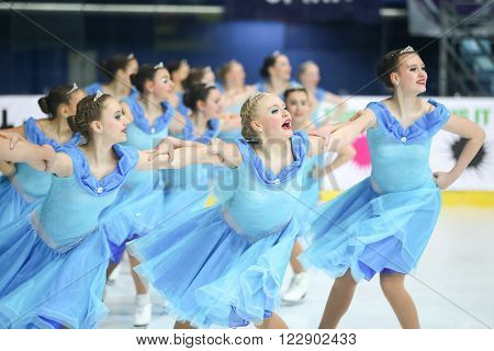 ZAGREB, CROATIA - MARCH 12 : Team Germany perform in the Juniors Free Skating during Day 2 of the ISU Synchronized Skating Junior World Challenge Cup at Dom Sportova on March 12, 2016 in Zagreb, Croatia.