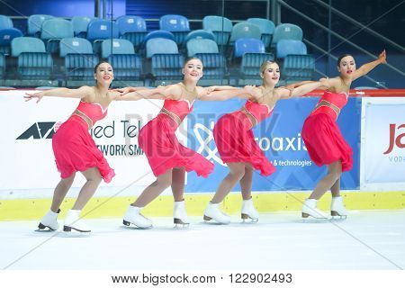 ZAGREB,CROATIA - MARCH 12: Great Britain perform in the Juniors Free Skating during Day 2 of the ISU Synchronized Skating Junior World Challenge Cup at Dom Sportova on March 12,2016 in Zagreb,Croatia.