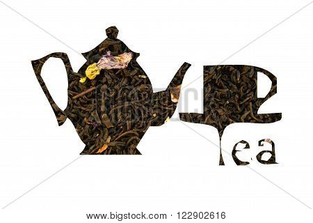Teapot And Cup With The Inscription Tea Made Of Black Tea On A White Background