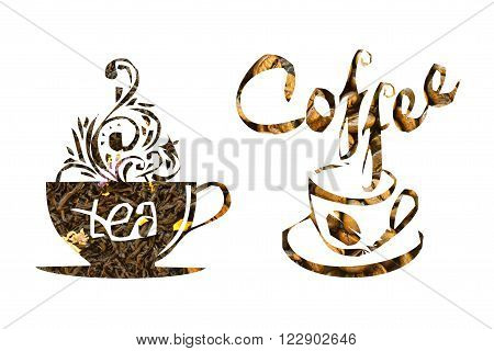 Two Cups Made Of Coffee And Tea With Inscriptions On A White Background