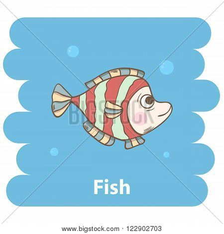Cute cartoon fish vector illustration.Cartoon animal fish  isolated on background.Sea fish, baby fish, sea animal.Vector fish marine animal.Cute fish vector illustration.Abstract  fish character