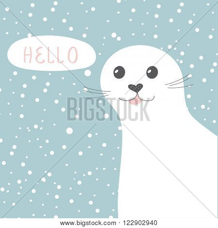 Cute seal. Vector illustration of cute cartoon seal character for greeting card, invitation, scrap book and other design