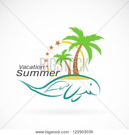 vector image of an palms tree and dugongs. Summer vacation. Logo design