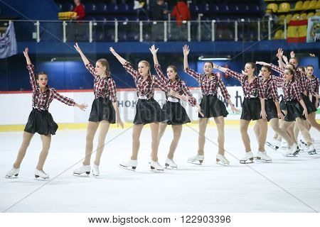 ZAGREB,CROATIA - MARCH 12 : Team Croatia perform in the Juniors Free Skating during Day 2 of the ISU Synchronized Skating Junior World Challenge Cup at Dom Sportova on March 12,2016 in Zagreb,Croatia.