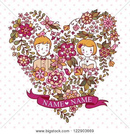 The bride and groom. Wedding invitation with a place under the names of the newlyweds.