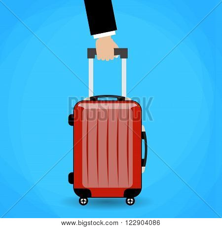 Hand holding red travel bag. vector illustration on blue background in flat design
