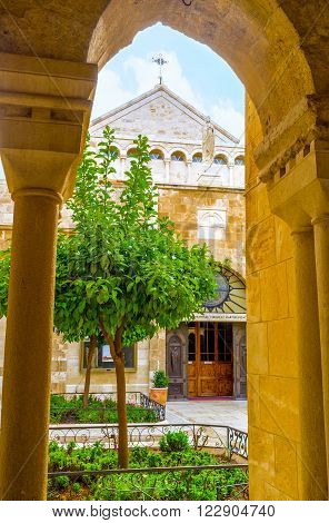 BETHLEHEM PALESTINE - FEBRUARY 18 2016: The Church of the St. Catherine and the Church of the Nativity are separated by Franciscan courtyard on February 18 in Bethlehem.