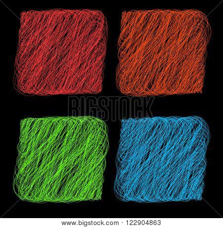 Vector color Rope hank on black background 1