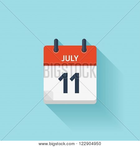 July 11 . Vector flat daily calendar icon. Date and time, day, month. Holiday.