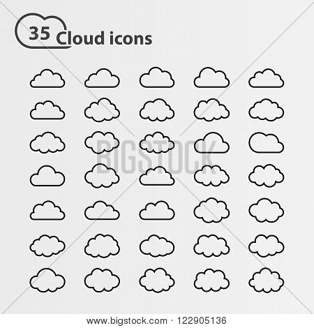Big vector set of thirty five cloud shape White cloud shape, black line cloud shape, black cloud shape, cloud icons, sign for web and app, for cloud computing and so on, isolated on a white background