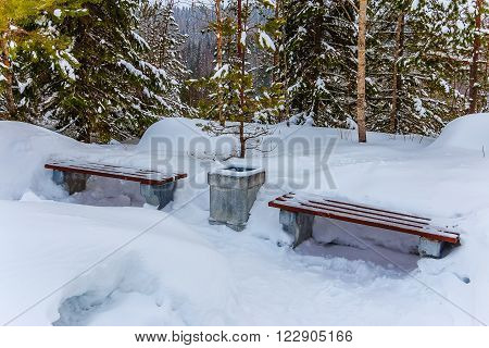 Benches and urn covered with snow on a path in a park