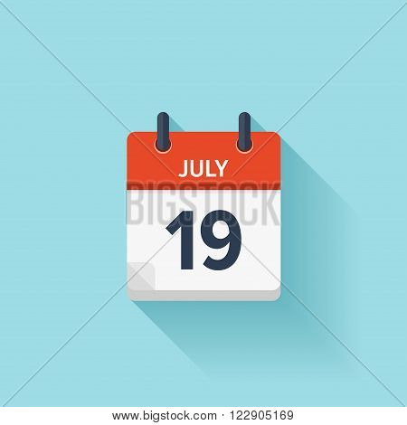 July 19 . Vector flat daily calendar icon. Date and time, day, month. Holiday.