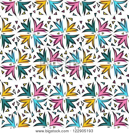 Tulip flowers seamless pattern on white background vector
