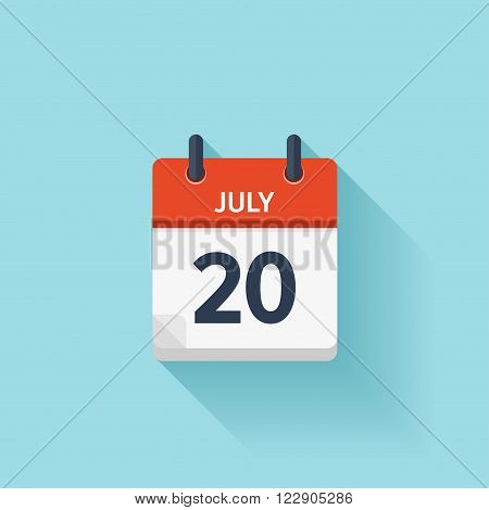 July  20. Vector flat daily calendar icon. Date and time, day, month. Holiday.