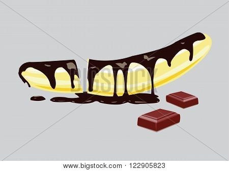 banana with chocolate and melted sauce. vector illustration